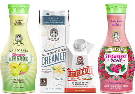 Califia fruit juices and non-dairy creamers