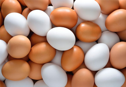 Pile of white and brown eggs