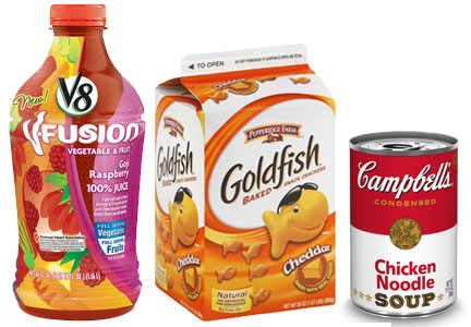 Campbell Soup Co. products, V8 Fusion, Goldfish crackers, Camobell's chicken noodle soup