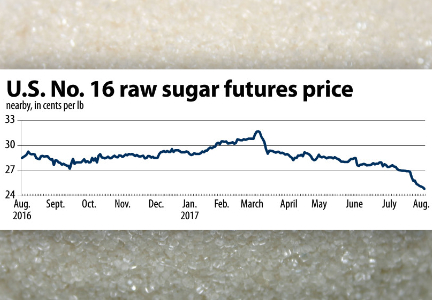 Chart: U.S. No. 16 raw sugar futures price