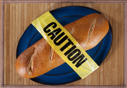 Caution tape across bread