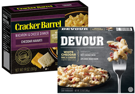Cracker Barrel macaroni and cheese and Devour frozen meal, Kraft Heinz