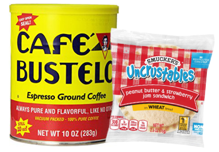 Cafe Bustelo coffee and Smuckers Uncrustables