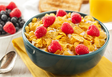 Cereal with flakes and fruit