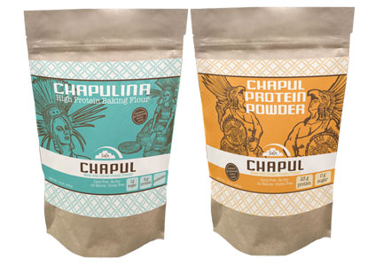 Chapul, Inc. cricket protein powder and high-protein baking flour made with a blend of gluten-free flours from crickets, brown rice, sorghum, garbanzo bean and hemp