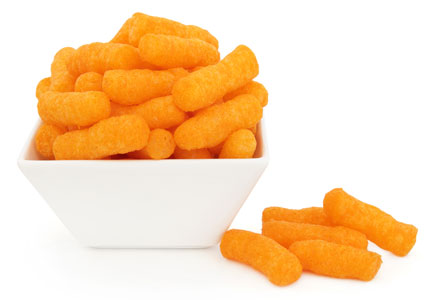 Cheese puffs in a bowl