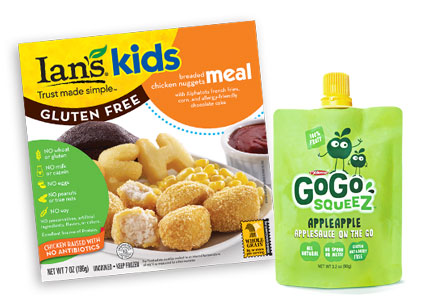Children's natural products - Ians kids meal, GoGo Squeez applesauce