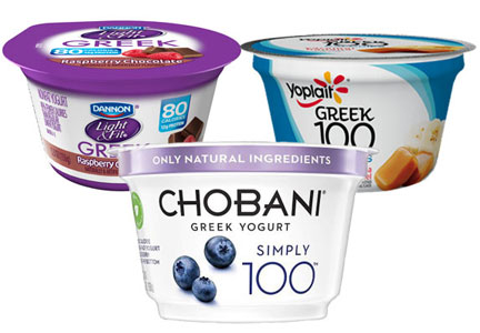 Chobani Simply 100, Dannon Light & Fit, Yoplait 100