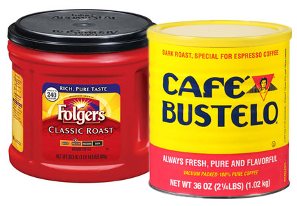 Canned coffee - Folgers, Cafe Bustelo