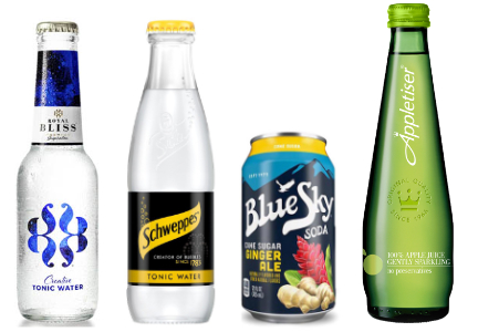 Coca-Cola premium beverage brands: Royal Bliss in Spain, Schweppes in Great Britain, Blue Sky in the U.S. and Appletiser in South Africa,