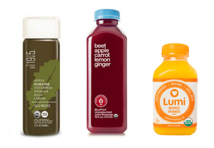 Cold-pressed juices - Campbell's 1915 juice, Hain's Blueprint juice, Lumi juice