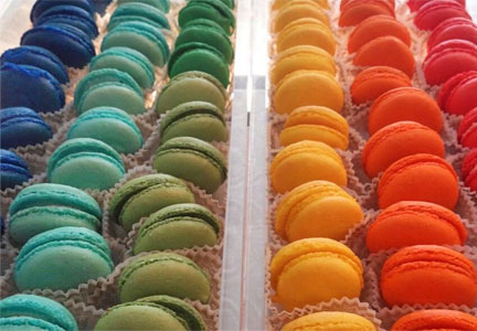 Rows of colorful French macarons, Tart Bakery