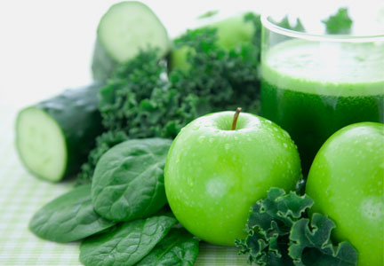 Green ingredients for smoothie - apples, broccoli, spinach, cucumber