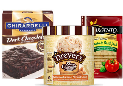 Sargento Tomato & Basil Jack sliced cheese, Ghirardelli Dark Chocolate Premium Brownie Mix, and Nestle Dreyer's Slow Churned California Caramel Almond Crunch Light ice cream