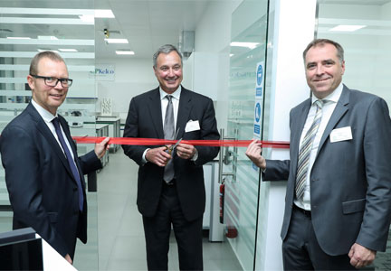 CP Kelco commemorated the expansion of its Dubai office, including a new laboratory for food and beverage applications, with a ribbon-cutting ceremony and site tour for customers and distributors on October 11, 2016. CP Kelco senior executives who hosted the event were (pictured, left to right): Klaus Bjerrum, SVP, Growth & Innovation; Don Rubright, President; and Jerome Bera, SVP, Global Marketing & Commercial