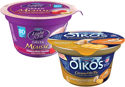 Oikos Bananas Foster yogurt, Dannon Light & Fit Raspberry White Chocolate yogurt