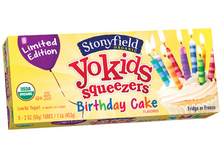 Stonyfield YoKids Squeezers Birthday Cake yogurt