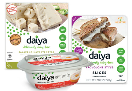 Daiya block cheese, cheese slices and cream cheese