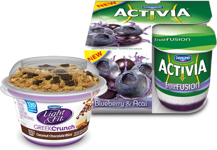 Dannon new products - Activia Fruit Fusion, Light & Fit Greek Crunch