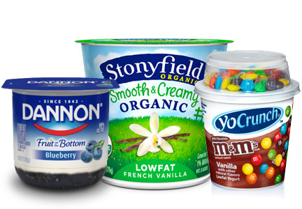Danone yogurt brands - Dannon, YoCrunch, Stonyfield Farms