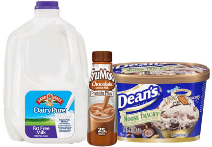 Dean Foods dairy products, DairyPure milk, TruMoo chocolate protein milk, Dean's Moose Tracks ice cream