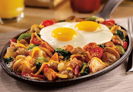 Denny's breakfast skillet with eggs