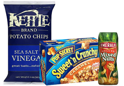 Diamond snacks, Kettle chips, PopSecret popcorn, Emerald mixed nuts