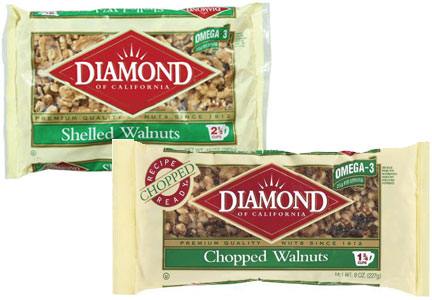 Diamond shelled and chopped walnuts