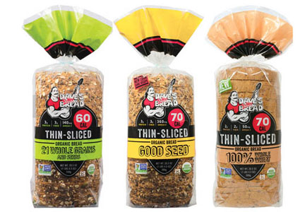 Dave's Killer Bread thin-sliced organic bread, Flowers Foods