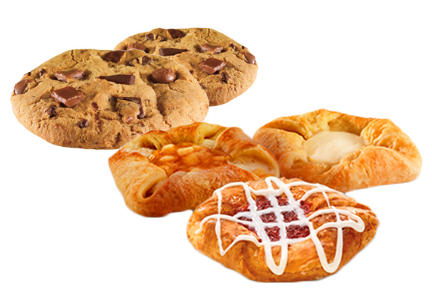 Dunkin' Donuts cookies and danishes