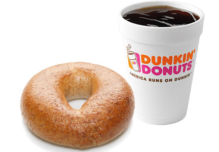 Dunkin' Donuts whole wheat bagel, whole grains