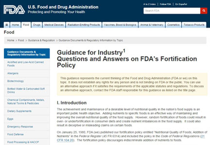 FDA food guidance web site