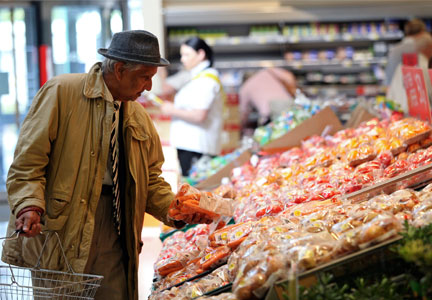 Man looking at high food prices