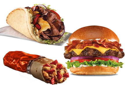 Restaurant menu items from Arby's, Taco Bell, Carl's Jr.