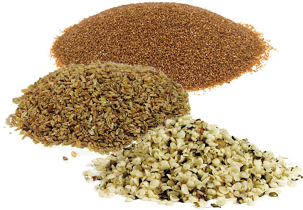 Freekeh, teff, hemp seeds