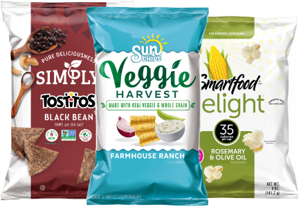 Frito-Lay Tostitos Black Bean tortilla chips, with 4 grams of protein and 5 grams of fiber per serving; Sun Chips Veggie Harvest chips, made with vegetables and whole grains, Smartfood Delight popcorn, with 35 calories per cup