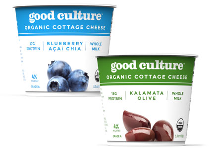 Good Culture blueberry acai chia and Kalamata olive cottage cheese