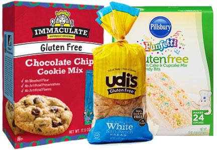 Gluten-free packaged baked goods - Immaculate Baking cookies, Udi's bread, Pillsbury cake mix