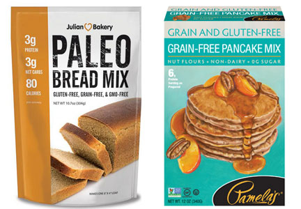 Paleo, gluten-free and grain-free diet foods