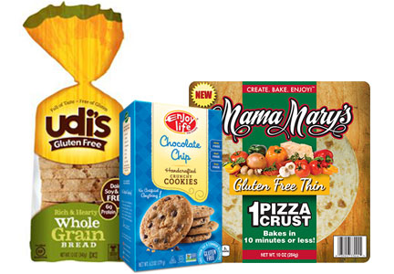 Gluten-free foods, Udi's bread, Enjoy Life cookies, Mama Mary's pizza crust