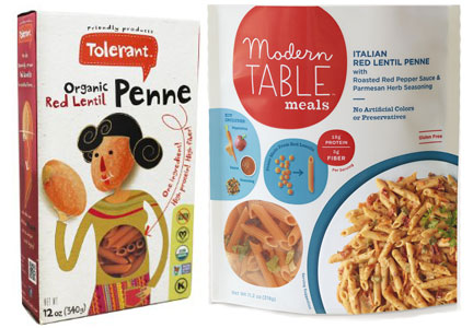Gluten-free pasta made with pulses, Tolerant and Modern Table pasta