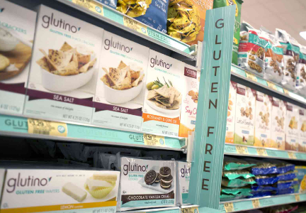 Gluten-free grocery store aisle