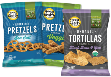 Good Health gluten-free pretzels and black bean tortilla chips