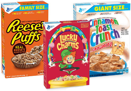 General Mills cereals: Lucky Charms, Reese's Puffs, Cinnamon Toast Crunch