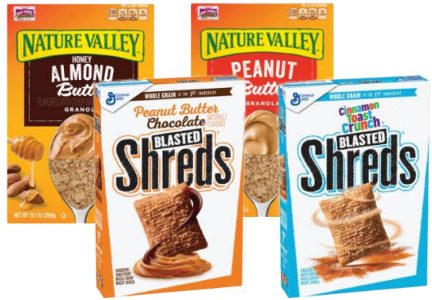 General Mills Shreds cereal and Nature Valley nut butter granolas