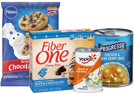 Yoplait yogurt, Fiber one bars, Progresso soup, Pillsbury refrigerated dough