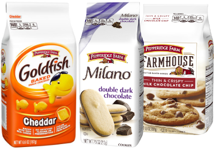 Goldfish crackers and Milano cookies, Pepperidge Farms