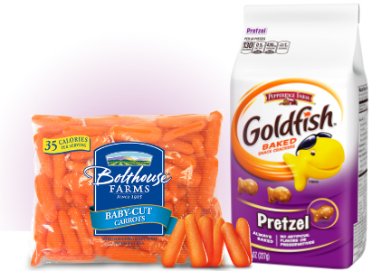 Goldfish crackers and Bolthouse Farm carrots