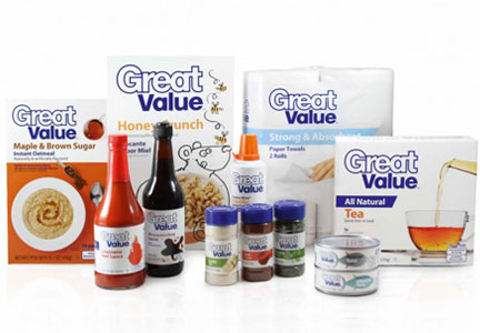 Wal-Mart Great Value private label products