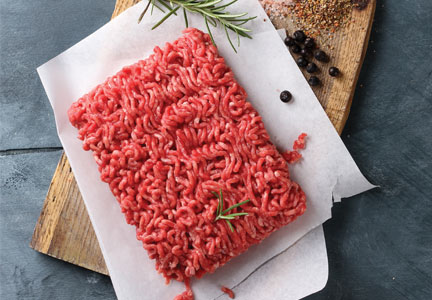 Ground and formed meat